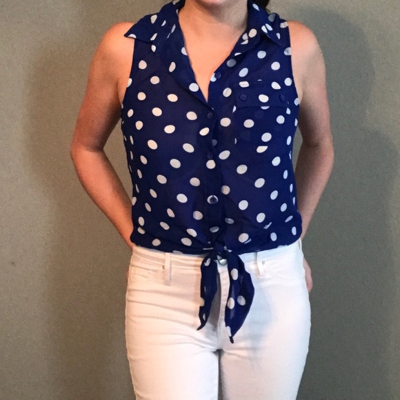 5e44cfc7d38a0d Tops | Retro Blue And White Polka Dot Tie Front Crop Top | Poshmark